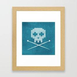 Knitted Skull (White on Blue) Framed Art Print