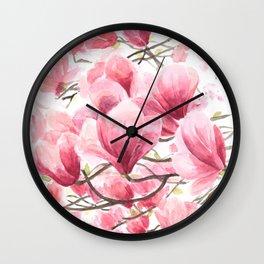 Watercolor Maglnolia Wall Clock