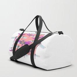 PURPLE  & GOSSAMER WHITE  DRAGONFLIES CORAL ART DESIGN  ART decor, furn Duffle Bag