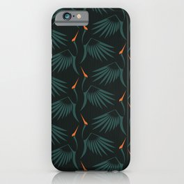 Flying Cranes Green Pattern iPhone Case