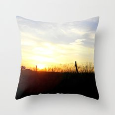 Sunset Behind the Fence Throw Pillow