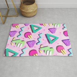 Pastel Pink 80s Print Pattern Rug