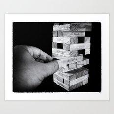 Jenga in Monochrome Art Print