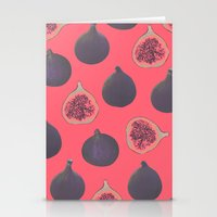georgiana paraschiv Stationery Cards featuring Fig pattern by Georgiana Paraschiv