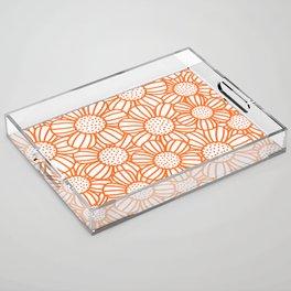 Field of daisies - orange Acrylic Tray