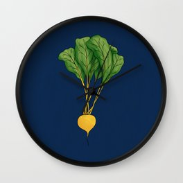 Yellow Beet with Dark Blue Background Wall Clock