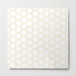 White and Gold Honeycomb Metal Print