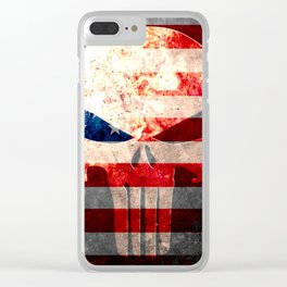 Skull and American Flag on Distressed Metal Clear iPhone Case