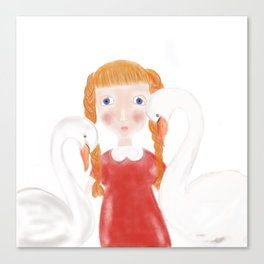 Girl with the swans Canvas Print
