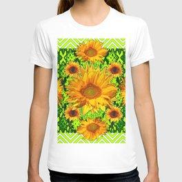 Modern Lime Green Deco Style Shasta Daisies Art T-shirt