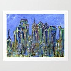 Blue Philadelphia Skyline Art Print