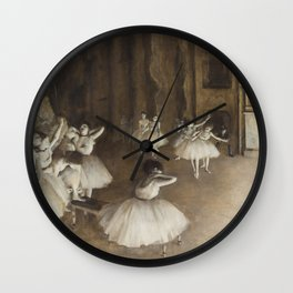 Ballet Rehearsal on Stage by Edgar Degas Wall Clock