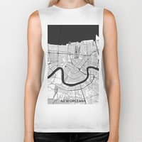 new orleans Biker Tanks featuring New Orleans Map Gray by City Art Posters