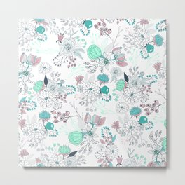 Coral turquoise modern abstract floral illustration Metal Print