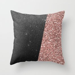 Abstract black rose gold geometrical glitter Throw Pillow