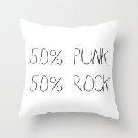 punk rock Throw Pillows featuring 50% Punk 50% Rock by Sara Eshak