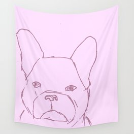 Sketched Frenchie (Pink) Wall Tapestry
