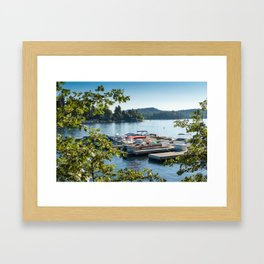 Overlooking a pier and boats on Lake Arrowhead, CA Framed Art Print