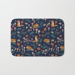 Fox and Hedgehog in Toadstool Woods In Blue Bath Mat
