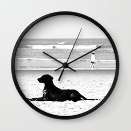 dog and child Wall Clock