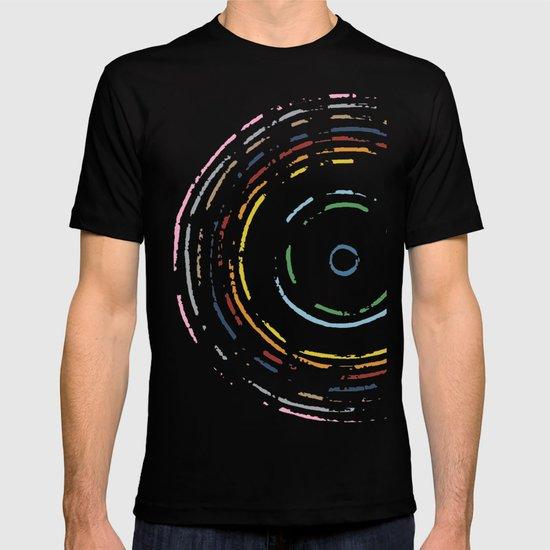 Rainbow Record on Black Closeup T-shirt
