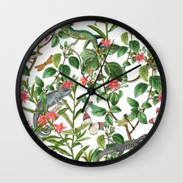 Vintage & Shabby Chic - Iguana And Insects Tropical Animals And Flowers Garden Wall Clock
