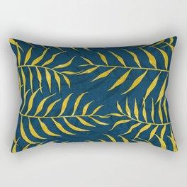 Golden Palm tree blue Rectangular Pillow