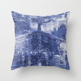 Totem Cabin Abstract - Stonewashed Denim Throw Pillow