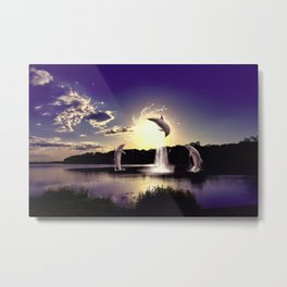 Dolphins play in the sunset Metal Print