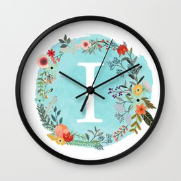 Personalized Monogram Initial Letter I Blue Watercolor Flower Wreath Artwork Wall Clock