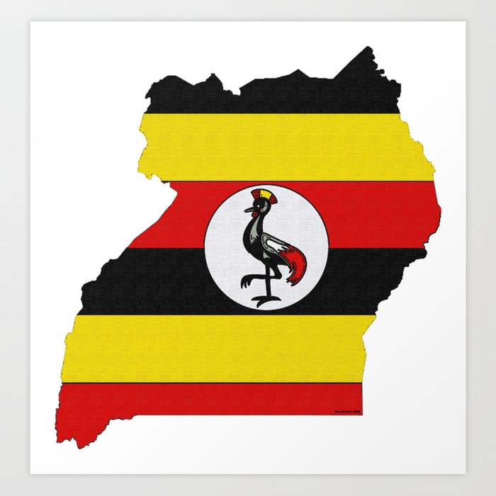 Uganda Map With Ugandan Flag Art Print By Havocgirl
