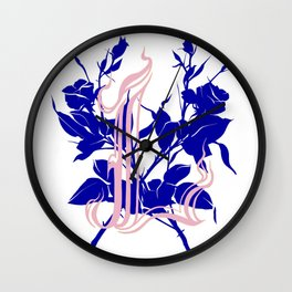 Locust tattoo roses in pink and blue Wall Clock