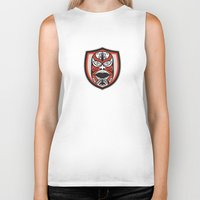 maori Biker Tanks featuring Maori Mask Shield Retro by patrimonio