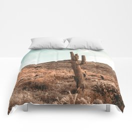 Saguaro Mountain // Vintage Desert Landscape Cactus Photography Teal Blue Sky Southwestern Style Comforters