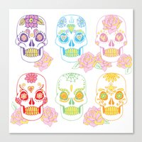 sugar skulls Canvas Prints featuring Sugar Skulls by Bird & Bow Studios