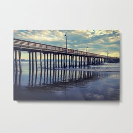 Just Wondering along the beach at Cayucos Pier Metal Print