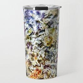 Purple Forum Cut Cookies Strain Resinous Amber Trichomes Dank Buds Close Up Travel Mug