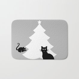 Cat and Mouse around the Christmas Tree Bath Mat