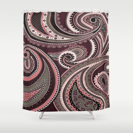 Playing With Paisley Patterns Aubergine Tones Shower Curtain