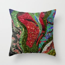 Retro Glitter Sky - Red Green Palatte Throw Pillow