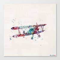 plane Canvas Prints featuring PLANE by Watercolorist