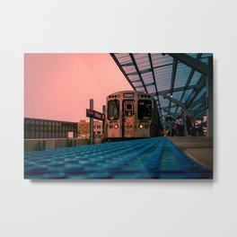 On Time Red Line El Train Chicago Train L Train Subway Platform Wilson Metal Print