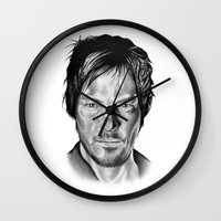 daryl dixon Wall Clocks featuring Daryl Dixon by 13 Styx