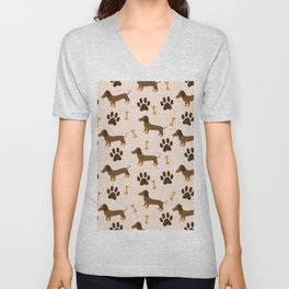 Seamless pattern dachshund Unisex V-Neck