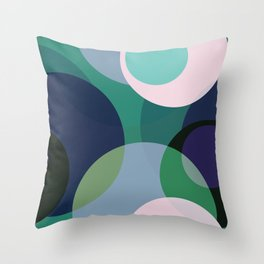 Purple Teal Blue Circle Abstract Throw Pillow