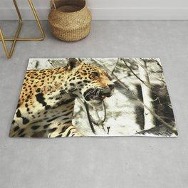 tree branch african safari animal leopard Rug