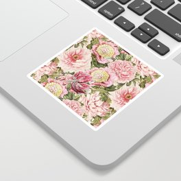 Vintage & Shabby Chic Floral Peony & Lily Flowers Watercolor Pattern Sticker