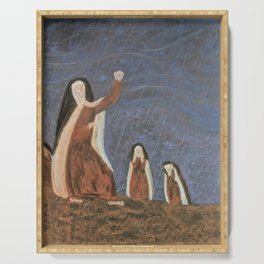 St. Teresa Shakes Her Fist At God Serving Tray