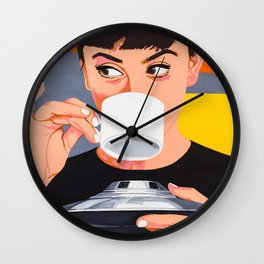 Coffee from the UFO - vintage movies poster hand drawn illustration Wall Clock