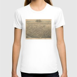 Vintage Pictorial Map of La Grange TX (1880) T-shirt